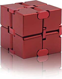 Grandwish Infinity Cube of Fidget Cube, Aluminum Alloy Infinity Fidget Finger Toys, Relieve Stress and Anxiety Red