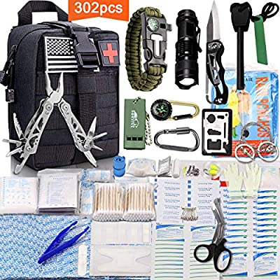 Monoki First Aid Survival Kit, 302Pcs Tactical Molle EMT IFAK Pouch Outdoor Gear EDC Emergency Survival Kits First Aid Kit Trauma Bag for Hiking Camping Hunting Car Travel or Adventures from Monoki