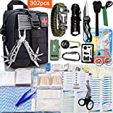 Monoki First Aid Survival Kit, 302Pcs Tactical Molle EMT IFAK Pouch Outdoor Gear EDC Emergency Survival Kits First Aid Kit Trauma Bag for Hiking Camping Hunting Car Travel or Adventures