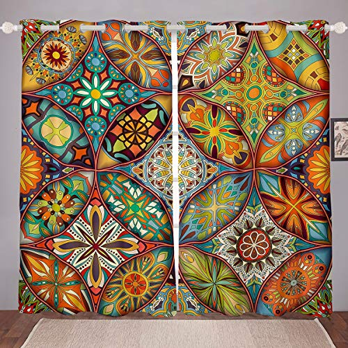 Bohemian Mandala Curtains for Bedroom Living Room Boho Tribal Curtains for Women Adults Colorful Flowers Printed Windows Drapes Vintage Southwestern Room Decoration, W46*L54