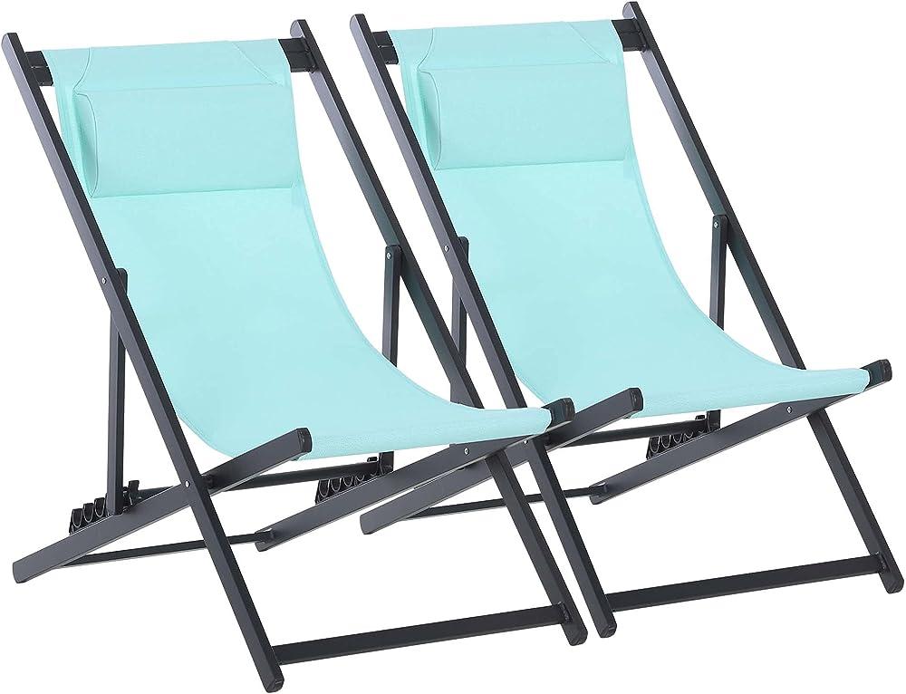 Outsunny set da 2 sedie sdraio per esterno pieghevoli e reclinabili in alluminio e textilene ad alta densità IT84B-342GN0631