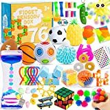 76 Pack Sensory Fidget Toys Set, Stress Relief and Anti-Anxiety Bundle Sensory Toys for Kids Adults, Cool Fidget Packs with Mochi Squishy, Magic Rainbow Ball, Motion Timer, Flippy Chain,Stress Ball...