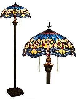 """Lampe sur pied de style Tiffany pour salon, abat-jour libellule en cristal de vitrail bleu orange de 16 """", 2 E27, lampadai..."""