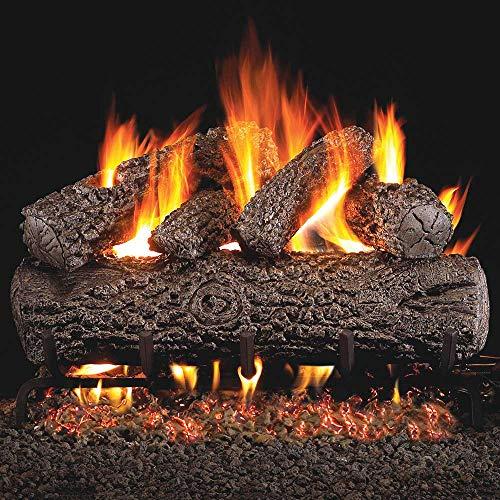 Peterson Real Fyre 24-inch Post Oak Log Set With Vented Natural Gas G45 Burner - Match Light