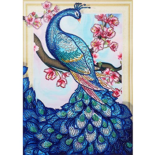 MXJSUA DIY 5D Special Shape Diamond Painting by Number Kit Crystal Rhinestone Round Drill Picture Art Craft Home Wall Decor 30x40cm Plum Peacock