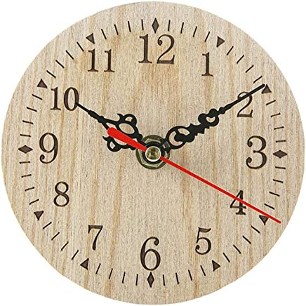 Opla3Ofx Retro Numbers Round Wooden Desktop Wall Clock Living Room Bedroom Home Decor Kitchen Office Large Number Operated Indoor Clocks 1#