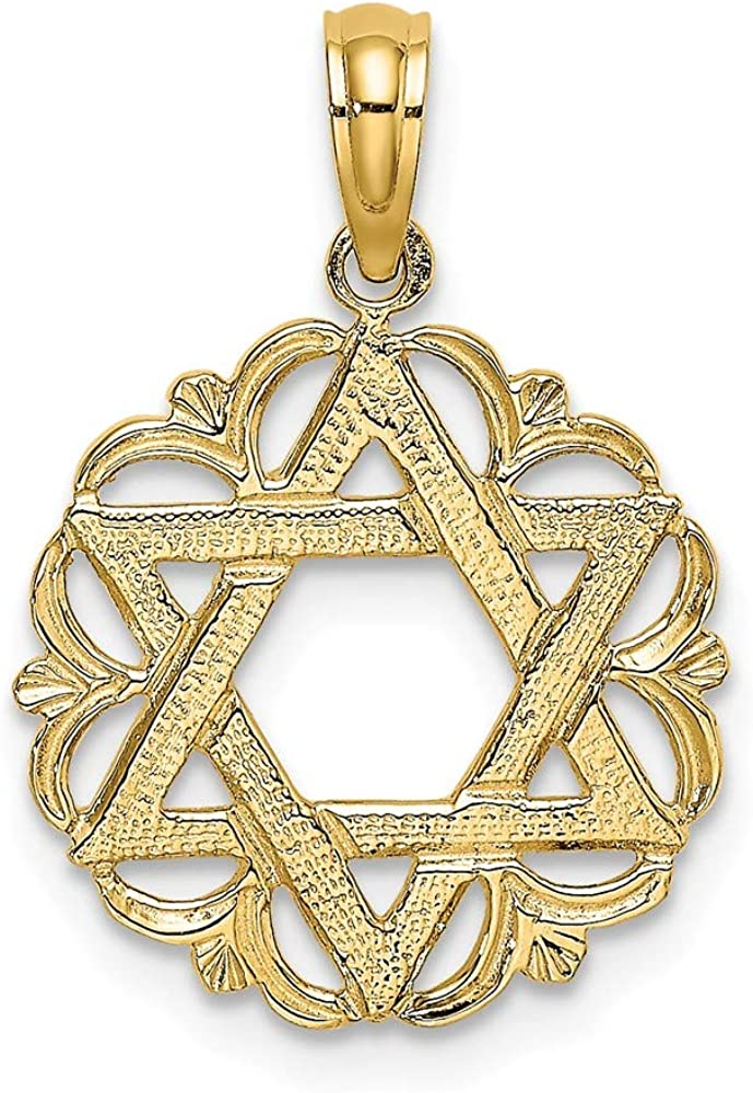14k Large special price Yellow Gold Jewish Jewelry Star In Scalloped Super sale period limited David Of Circle