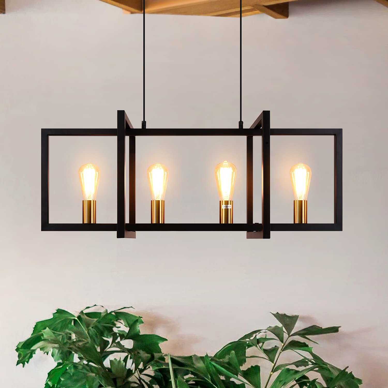Special Selling rankings sale item 4-Light Modern Chandelier Kitchen Island Light Pendant Black Lig