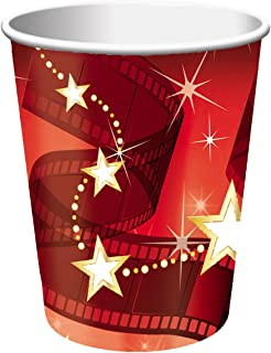 Creative Converting 8 Count Hollywood Lights Hot/Cold Cups, 9 oz, Red/White - 377607
