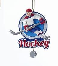 Kurt Adler Round Ice Hockey Resin Boy Hanging Ornament
