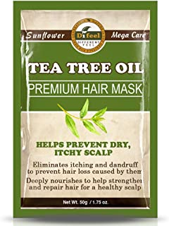 Difeel Premium Hair Mask- Tea Tree Oil, Eliminates Itching & Dandruff, Prevents Hair Loss, Deeply Nourishes, Strengthens & Repair Hair, For Healthy Scalp 1.75 oz.