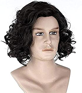 Diy-Wig Natural Men's Short Black Curly Fluffy Wavy Cosplay Party Costume Full Wig Halloween Wigs
