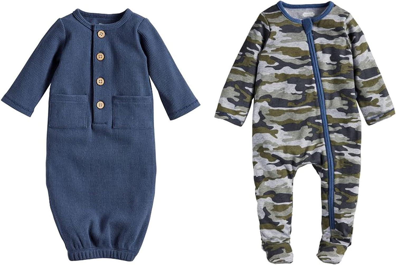 Mud Pie Baby Boys' Camo Grow Boxed Set, Blue, 0-6 Months