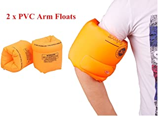 ZWZCYZ Floaties 1 Pair/2pcs Inflatable Swim Arm Bands Floatation Sleeves Swimming Rings Floats Tube Armlets for Kids and Adult (Orange)