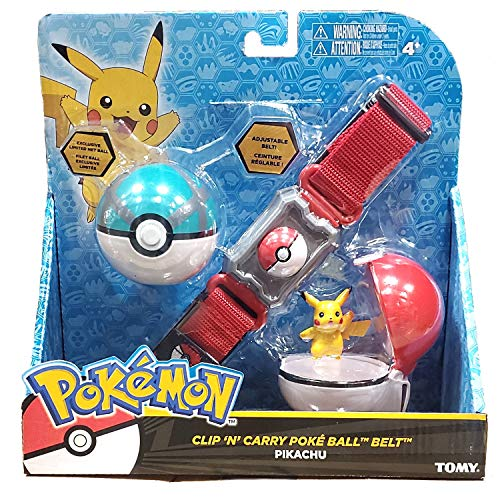 Pokémon Clip and Carry Poké Ball Adjustable Belt with 2 inch Pikachu Figure, Poké Ball, and Grass Type Nest Ball - Assorted colors