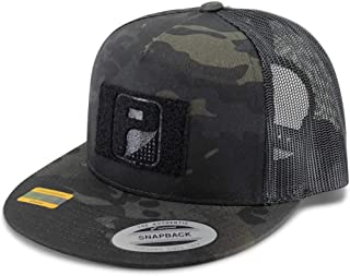 Pull Patch Tactical Hat | Authentic Snapback Multicam Flat Bill Trucker Cap | 2x3 in Hook and Loop Surface to Attach Morale Patches | 5 Panel | Black Camo and Black | Free US Flag Patch Included