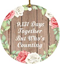 25th Anniversary 9,131 Days Together Who's Counting - Circle Wood Ornament B Christmas Tree Hanging Decor - for Wife Husba...