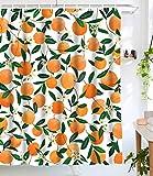 Lifeel Orangefarbener Duschvorhang, komplett mit Früchten, r&er Citrus-Muster, wasserdichter Stoff, Badezimmer-Duschvorhang-Set mit 12 Haken, orange-grün