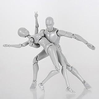 Aslion 2 Pcs 2.0 Action Figure Male Female Model for SHF Body Kun Doll PVC Body-Chan DX Set (Male and Female)