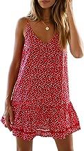 Valphsio Womens Floral Spaghetti Strap Short Dress Boho V Neck Mini Beachwear Dress Sundress