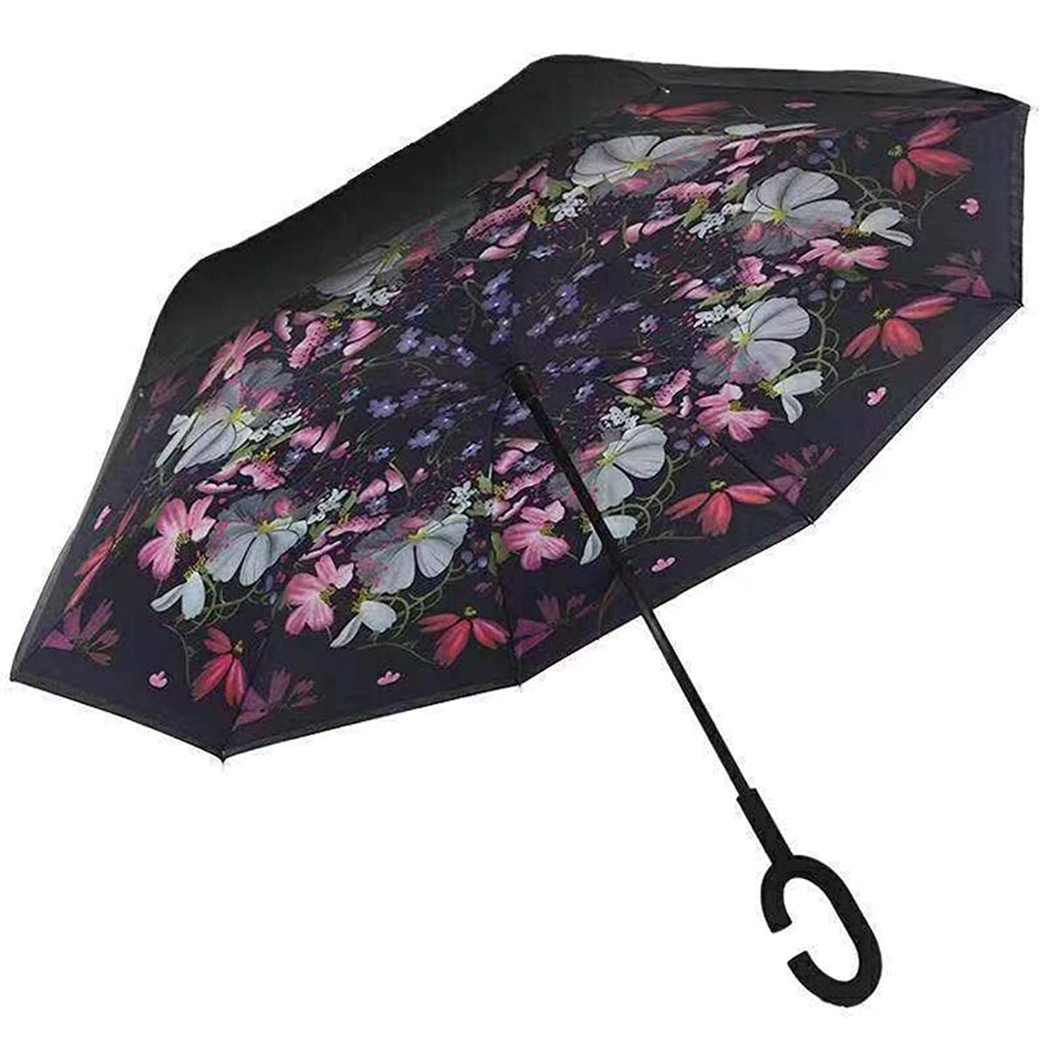 変数神経障害極小YSYYSH 傘逆傘ハンズフリーロングハンドル傘C型ハンドルは快適に保持し、高速乾燥ベラミーレッド124 CM×80 CMに快適です クラシック傘