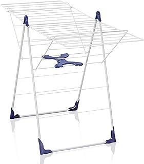 Leifheit Séchoir sur pied Classic 200 Flex, étendoir à linge résistant à l'eau avec hauteur réglable, sèche linge avec lon...