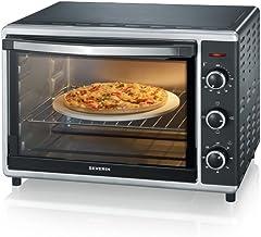 SEVERIN Mini-Four à Chaleur Tournante 42 L, Inclus : Tournebroche et Pierre à Pizza (Ø 29cm), Minuteur 120 min, 1 800 W, N...