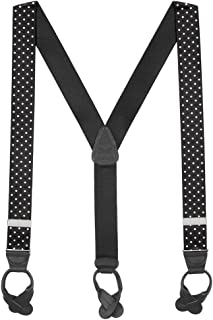 black and white polka dot suspenders