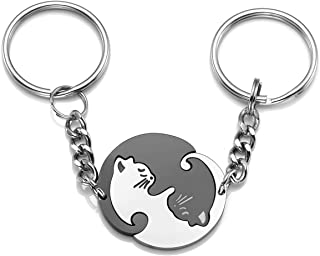 Jovivi Personalized Custom Name Engraved 2pcs Stainless Steel Black and White Yin yang Matching Puzzle Cat Couples Pendant Necklace Keychain for Lover