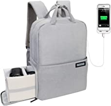 """CADeN Camera Backpack for DSLR/SLR Waterproof w/USB Charging Port, Tripod Holder, Rain Cover, Anti Theft 14"""" Laptop Camera Bag, Compatible for Sony Canon Nikon Mirrorless Cameras and Accessories Grey"""