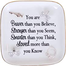 Daughter Gift - You are braver than you Believe,Stronger than you Seem,Smarter than you Think,Loved more than you Know - Jewelry Dish Trinket Tray Inspiration Graduation Gift For Women Daughter