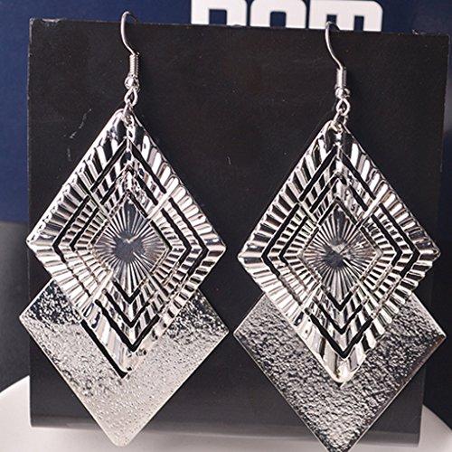 teng hong hui Rock Punk Big Leaf Earrings Water Drop earrings Women Metal Long Dangle Earrings Women Girls Bohemian Earrings