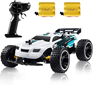 RC Racing Car, 2.4Ghz High Speed Remote Control Car, 1:18 2WD Toy Cars Buggy for Boys & Girls with Two Rechargeable Batteries for Car, Gift for Kids (White)