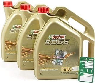 3x 5 L = 15 Liter Castrol Edge Fluid Titanium 5W 30 LL Motor Öl Motoren Öl inkl. Castrol Ölwechsel Anhänger