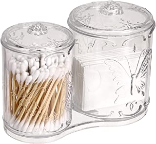 Hipiwe Acrylic Makeup Cotton Pad Q-Tips Holder with Cover 2 Compartment Cotton Ball Swab Stick Organizer Storage Case Apothecary Jar Container for Makeup Brushes, Makeup Sponges (Clear)