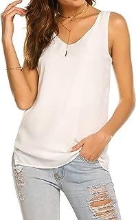 Women Summer Sleeveless Chiffon V Neck T Shirt Casual Simple Plain Side Slits Tank Tops