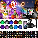 Luces de proyector de Navidad, ALED LIGHT Impermeable Exterior Decoración Luz de Proyector con Control Remoto y 20 Diapositivas de Patrón para Fiesta, Navidad, Festivos
