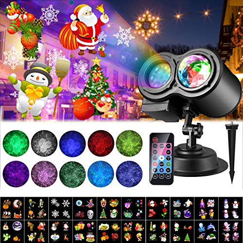 2020 Christmas Projector LED Lights, 20 Slides ALED LIGHT LED Projector Lamp Double Projection Light Waterproof Outdoor Water Wave Projector Light with Remote Control for Party Birthday