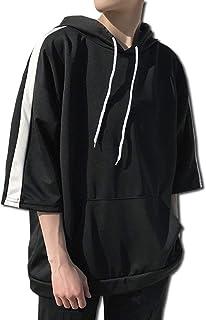 [ボルソ] 7分袖 ゆったり ビック シルエット パーカー メンズ (ブラック、ホワイト、ブルー) M ~ XXL
