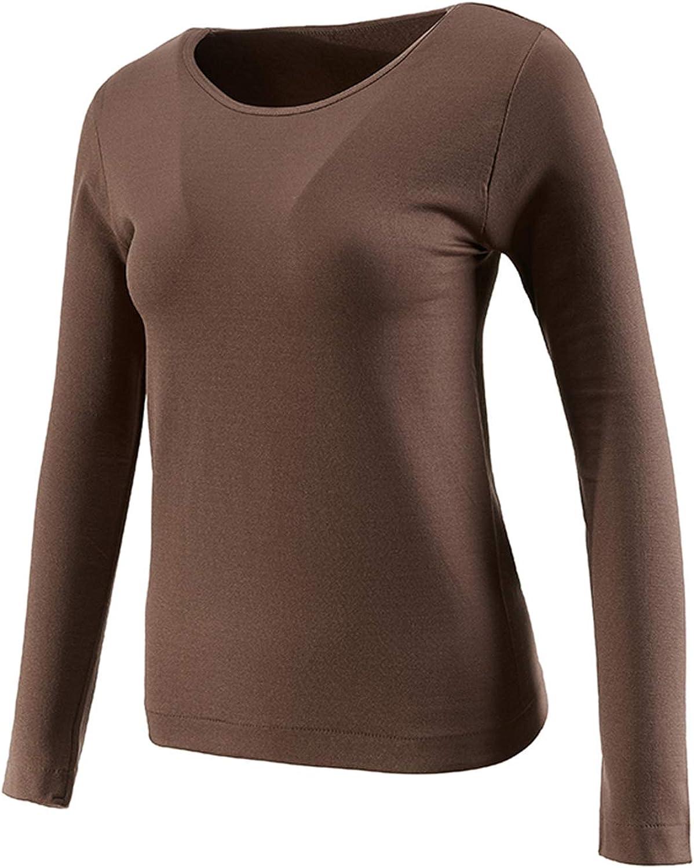 VANORIG Thermal Underwear for Women Long Sleeve Thermal Tops Plush Lined Ladies Thermal Underwear Soft Elastic Warm Underwear