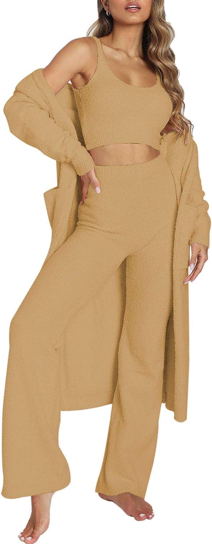 Women's Fuzzy 3 Piece Sweatsuit Open Wi Crop Cardigan New arrival Front Great interest Tops