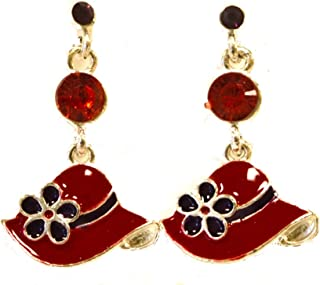 Red Hat Earrings / Red Hat Ladies Society / Cloisonne