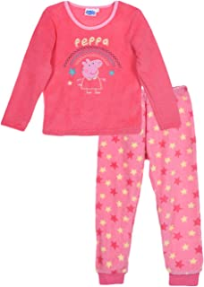 Peppa Pig - Pijama de invierno para niños (forro polar), color coral