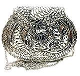 Latón plateado Girl Women party gift nupcial Sling bag, Clutch antiguo, Clutch étnico