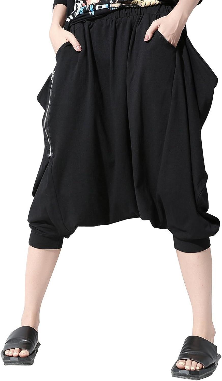 ELLAZHU Women Summer Black Zipper Drop Credch Pants Capri GY1243 A