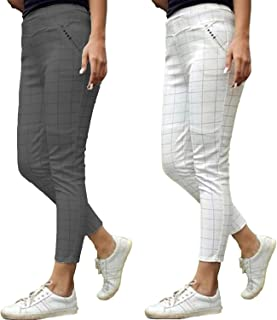 4a8ca578e1cae1 The Secret Boutique Checks Printed Jeggings for Womens and Girls with  Cotton Plus Material Pack of