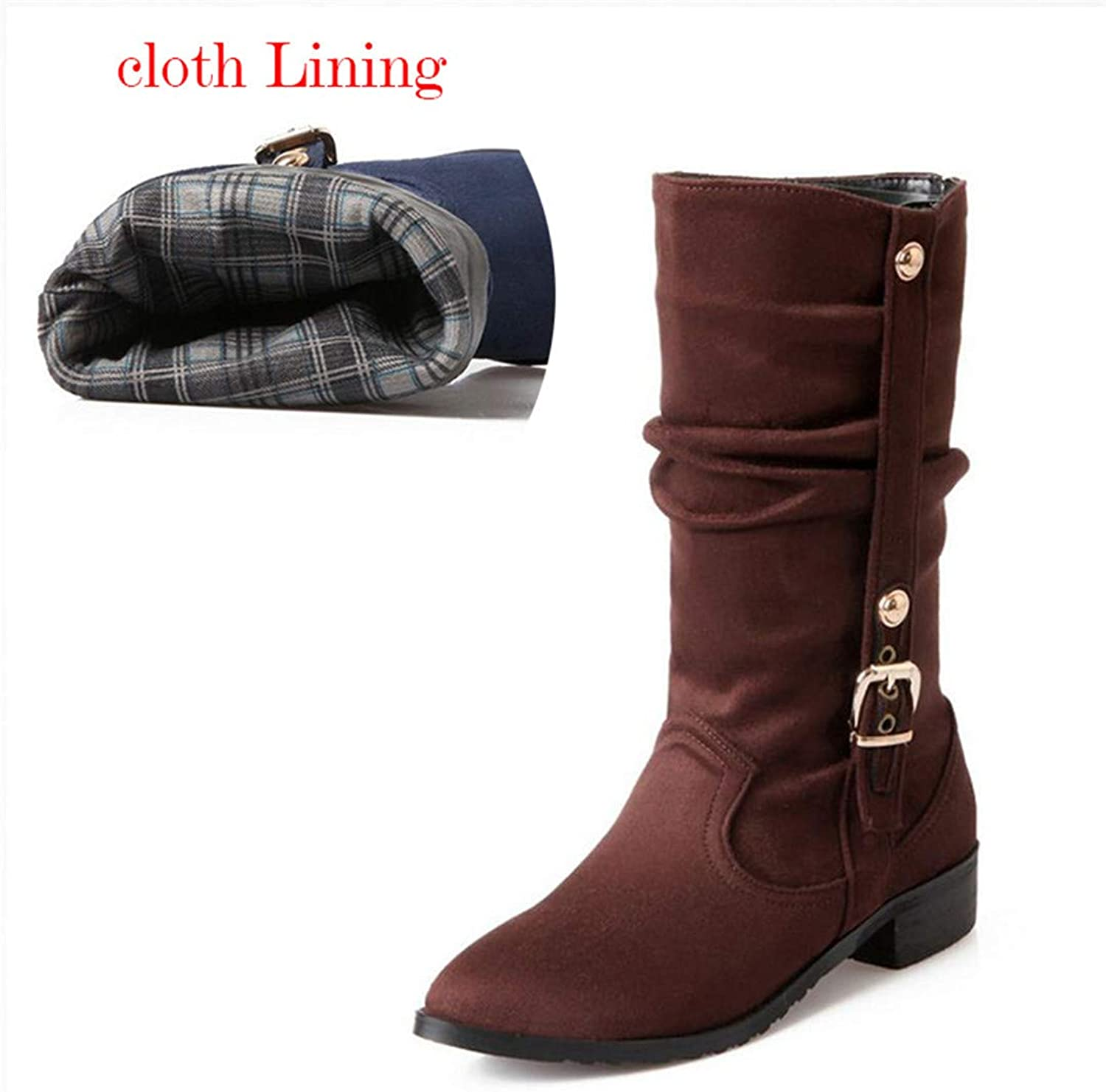 Women Half Boots Warm Winter Snow Flat Boot Riding Boot Wind Leather shoes Women Boots