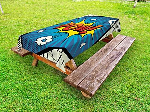 ABAKUHAUS Blauw Geel Vintage Tafelkleed voor Buitengebruik, Pop Art Pow, Decoratief Wasbaar Tafelkleed voor Picknicktafel, 58 x 104 cm, Ivory Multicolor