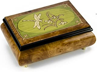 Tranquil Olive Green and Wood Tone Dragonfly Music Box - Over 400 Song Choices - Through The Eyes of Love New