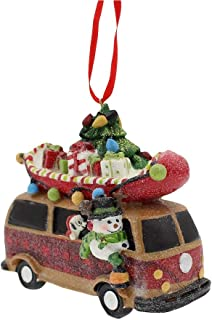 Raz Traveling Snowman in Vintage Bus with Canoe on Top Ornament